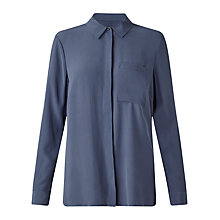 Buy Jigsaw Silk Shirt, Ash Blue Online at johnlewis.com