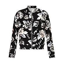 Buy Miss Selfridge Floral Bomber Jacket, Black Online at johnlewis.com