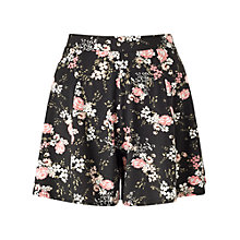 Buy Miss Selfridge Floral Shorts, Black Online at johnlewis.com