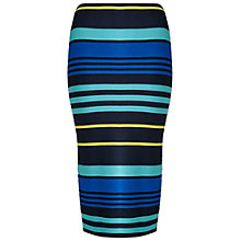 Buy Miss Selfridge Stripe Rib Pencil Skirt, Multi Online at johnlewis.com