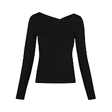 Buy Whistles Asymmetric V Neck Top, Black Online at johnlewis.com