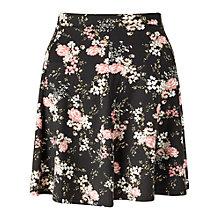 Buy Miss Selfridge Floral Skater Skirt, Black Online at johnlewis.com
