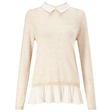 Buy Miss Selfridge Pleated 2 in 1 Jumper, Nude Online at johnlewis.com