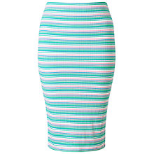 Buy Miss Selfridge Petites Stripe Midi Skirt, Pink/Green Online at johnlewis.com