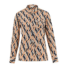 Buy Whistles Faye Diamond Print Pussybow Silk Blouse, Pink/Multi Online at johnlewis.com