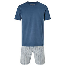 Buy John Lewis Chilworth T-Shirt and Stripe Shorts Lounge Set, Blue Online at johnlewis.com