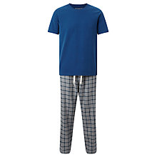 Buy John Lewis Bristol Check Trousers and T-Shirt Lounge Set, Blue/Grey Online at johnlewis.com