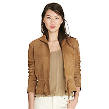 Buy Lauren Ralph Lauren Kiania Leather Jacket, Mountain Khaki Online at johnlewis.com