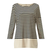 Buy Gerry Weber Three-Quarter Sleeve Stripe Jersey Top, Ecru/Black Online at johnlewis.com
