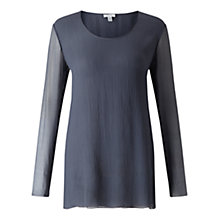 Buy Jigsaw Silk Crinkle Top, Smoke Online at johnlewis.com