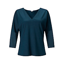 Buy Jigsaw Silk Sleeve Cotton Tencel T-Shirt, Petrol Online at johnlewis.com
