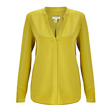 Buy Jigsaw Open Silk Blouse, Golden Moss Online at johnlewis.com