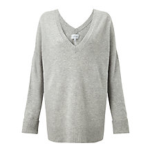 Buy Jigsaw V Neck Pointelle Jumper, Light Grey Mel Online at johnlewis.com