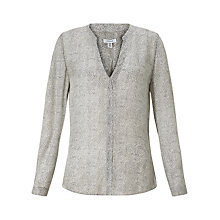 Buy Jigsaw Dashed Lines Silk Blouse, White Online at johnlewis.com