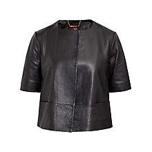 Buy Ted Baker Short Sleeve Leather Jacket, Black Online at johnlewis.com