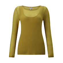 Buy Jigsaw Double Layer Jumper, Golden Moss Online at johnlewis.com