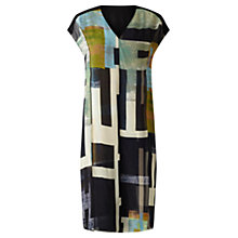Buy Jigsaw Cyanograph Block Silk Dress, Black Online at johnlewis.com