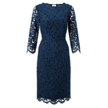 Buy Jigsaw Three-Quarter Sleeve Lace Dress, Petrol Online at johnlewis.com