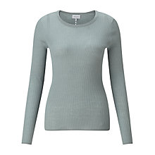 Buy Jigsaw Ribbed Pointelle Jumper, Pale Sage Online at johnlewis.com