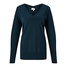 Buy Jigsaw V-Back Jumper With Pointelle Detail, Petrol Online at johnlewis.com