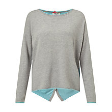 Buy Cocoa Cashmere Colour Block Button Back Cashmere Jumper, Grey/Duck Egg Online at johnlewis.com
