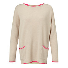 Buy Cocoa Cashmere Contrast Cashmere Trim Jumper Online at johnlewis.com