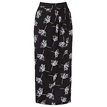 Buy Warehouse Stencil Floral Skirt, Black Online at johnlewis.com
