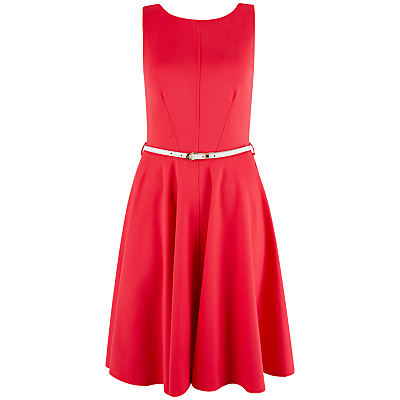 Closet Belted V-Back Dress, Coral