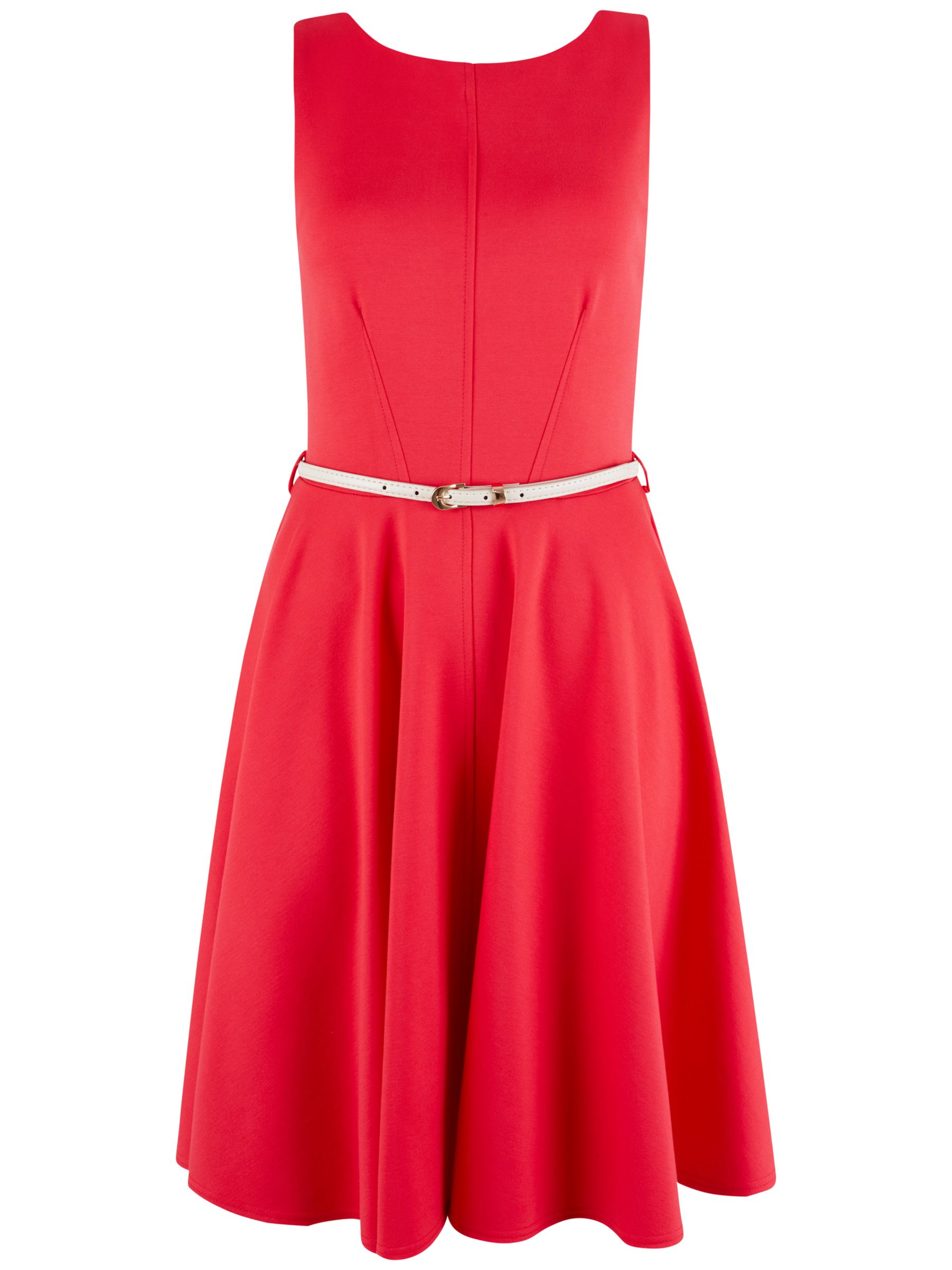 Closet Closet Belted V-Back Dress, Coral