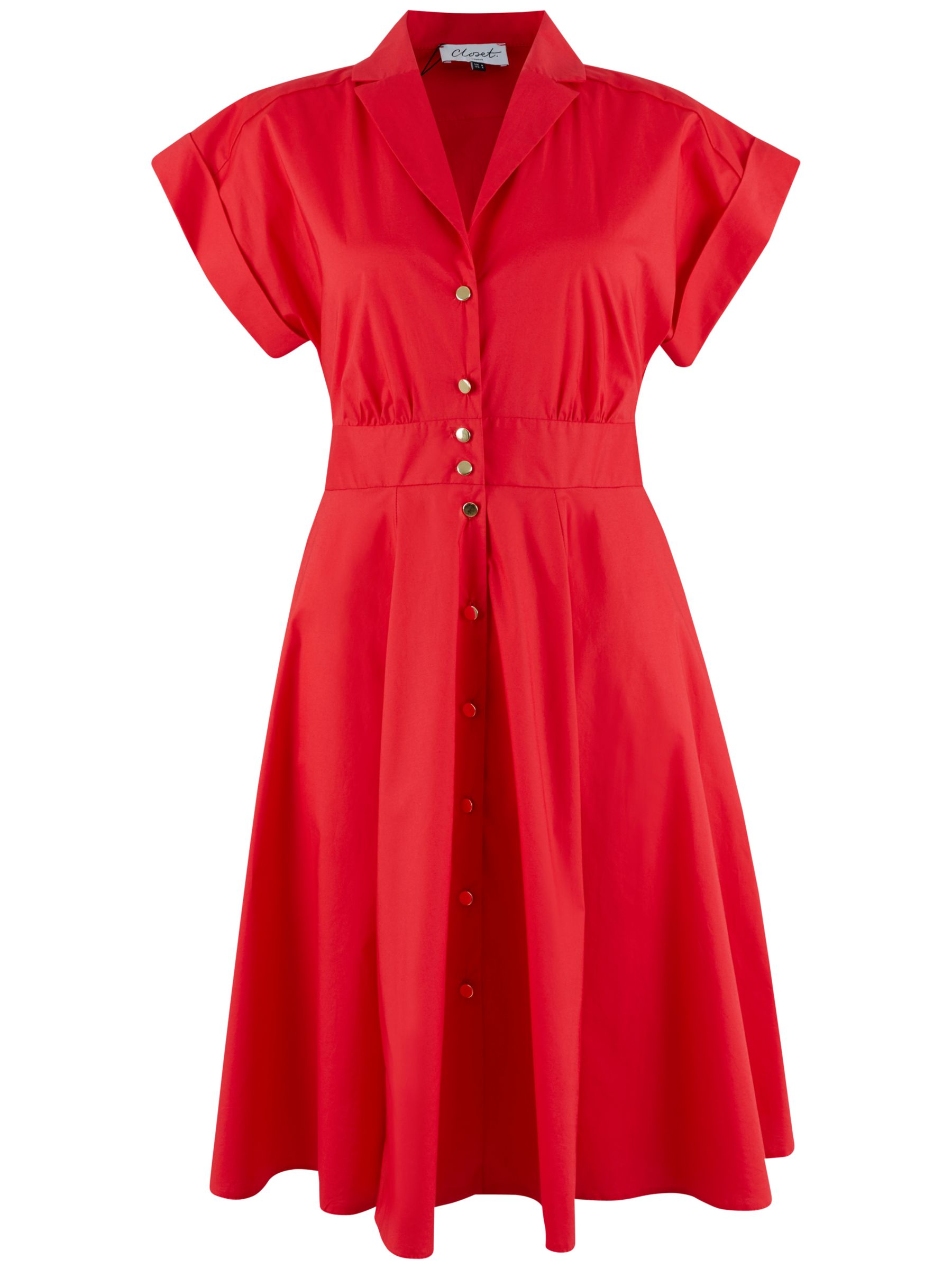 Closet Closet Collar Roll Dress, Red