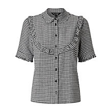 Buy Miss Selfridge Gingham Ruffle Bib Shirt, Multi Online at johnlewis.com
