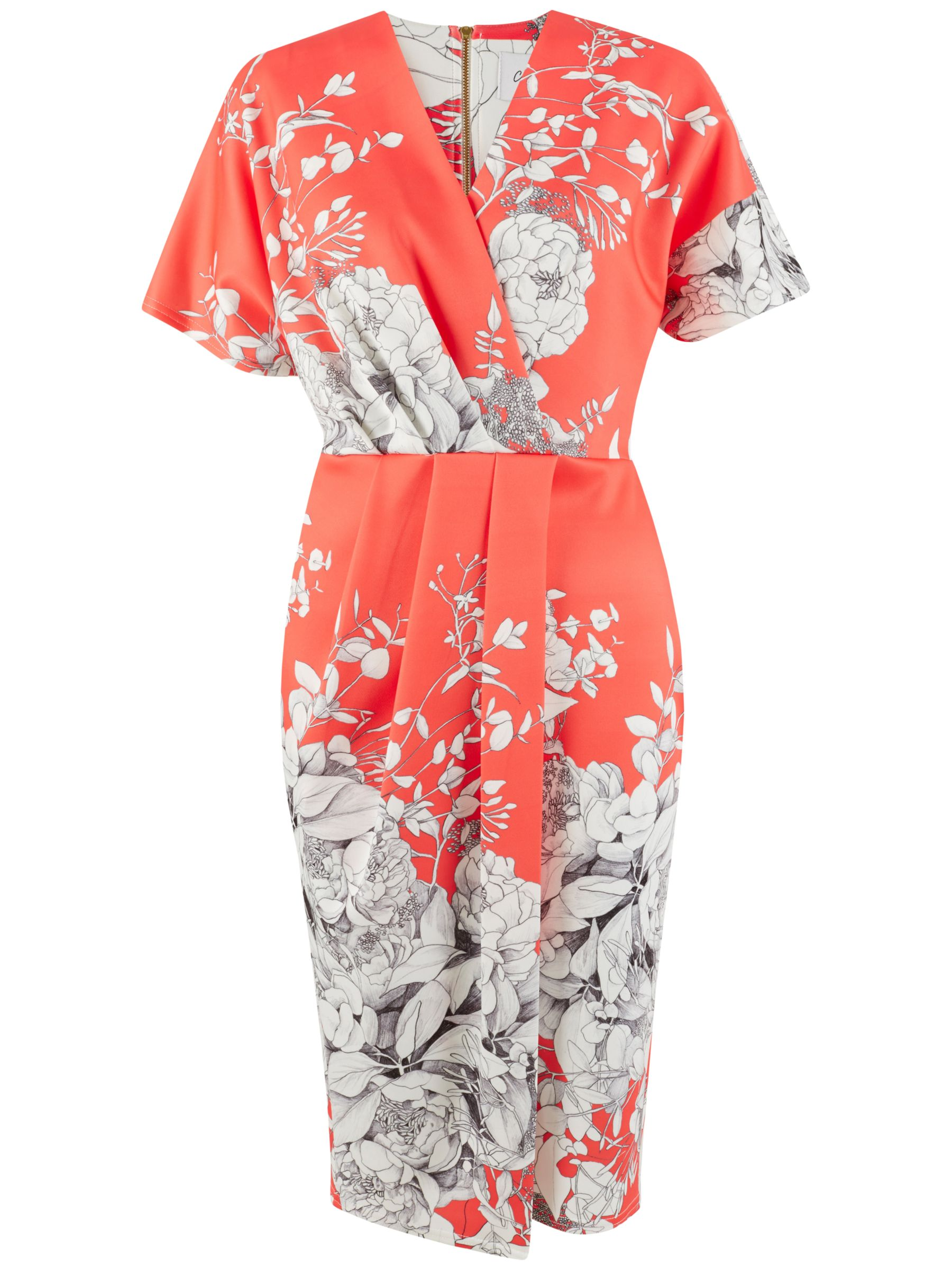 Closet Closet Floral Wrap Dress, Coral