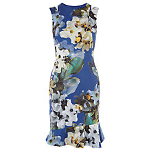 Buy Karen Millen Digital Floral Print Dress With Asymmetric Hem, Blue/Multi Online at johnlewis.com