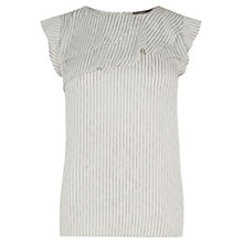 Buy Oasis Stripe Frill Top, Multi/Natural Online at johnlewis.com