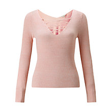 Buy Miss Selfridge Lace Up V Back Top, Pink Online at johnlewis.com