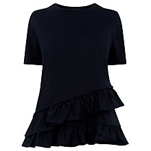 Buy Warehouse Cotton Poplin Ruffle T-Shirt, Navy Online at johnlewis.com