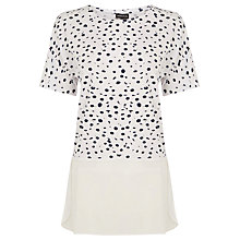 Buy Warehouse Paint Spot Woven Hem Top, White Online at johnlewis.com