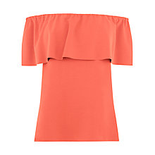 Buy Warehouse Crepe Off The Shoulder Top, Coral Online at johnlewis.com