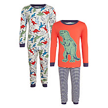 Buy John Lewis Children's Dinosaur Pyjamas, Pack of 2, Red/Multi Online at johnlewis.com