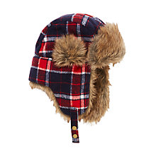 Buy John Lewis Children's Check Trapper Hat, Red/Multi Online at johnlewis.com
