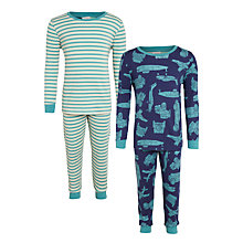 Buy John Lewis Children's Transport And Striped Pyjamas, Pack of 2, Multi Online at johnlewis.com