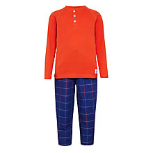 Buy John Lewis Children's Henley Grid Check Pyjamas, Red Online at johnlewis.com