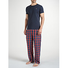 Buy Gant Check Trousers and T-Shirt Lounge Gift Set, Navy/Red Online at johnlewis.com