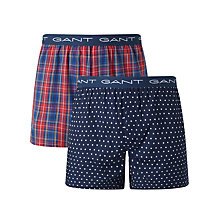 Buy Gant Stars Check Boxers, Pack of 2, Navy/Red Online at johnlewis.com