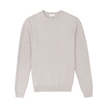 Buy Reiss Prima Check Weave Jumper, Grey Melange Online at johnlewis.com