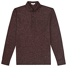 Buy Reiss Goa Mottled Long Sleeve Polo Shirt, Plum Online at johnlewis.com