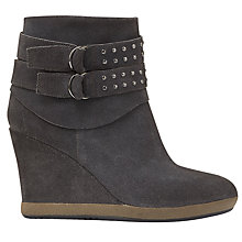 Buy Mint Velvet Abi Suede Wedge Heeled Ankle Boots, Granite Online at johnlewis.com