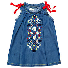 Buy Margherita Kids Baby Embroidered Chambray Dress, Blue Online at johnlewis.com