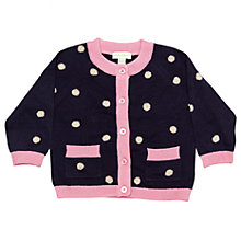 Buy Margherita Kids Baby Dot Knit Cardigan, Eclipse/Pink Online at johnlewis.com