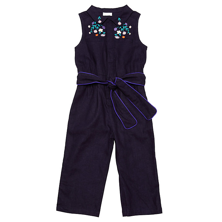 Buy Margherita Kids Girls' Embroidered Jumpsuit, Eclipse/Multi, 3 years Online at johnlewis.com